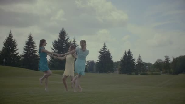 Three girlfriends round dance in summer field