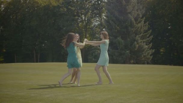 Vidám szép lányok tánc a zöld mezőben