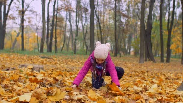 Izgatott lány dobtak bukott őszi lombozat park