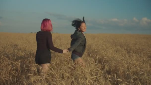 Lovely women rejoicing in wheat field at sunset