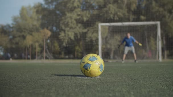 Soccer players taking penalty kick on the pitch