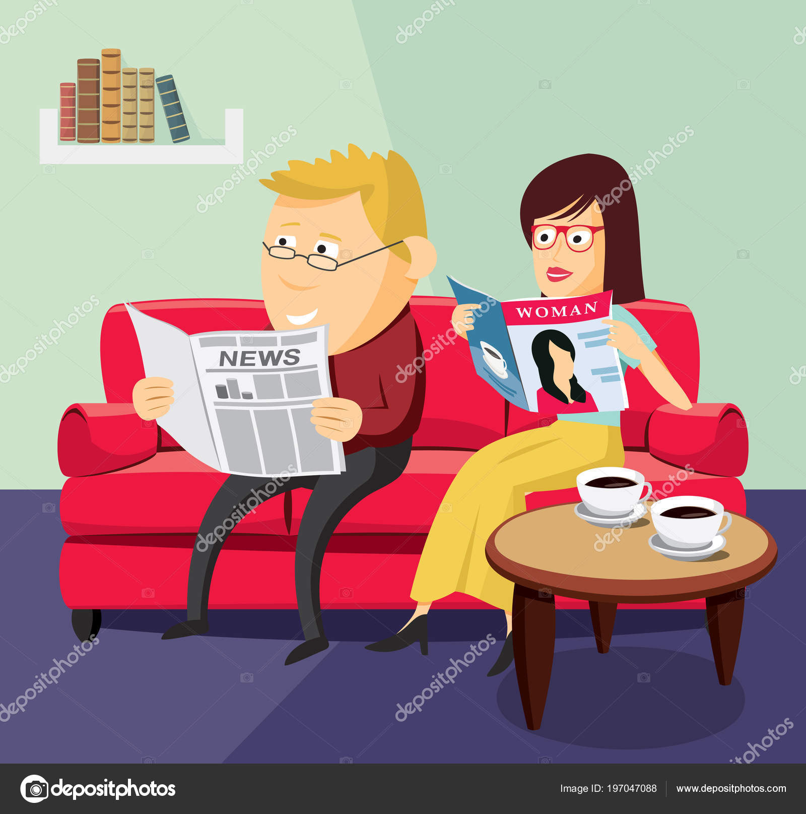 Happy Man And Woman Reading A Newspaper Magazine On The Sofa In Living Room
