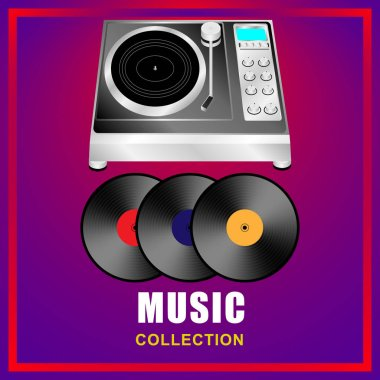 Music collection. Vinyl record player, vinyl records on abstract background