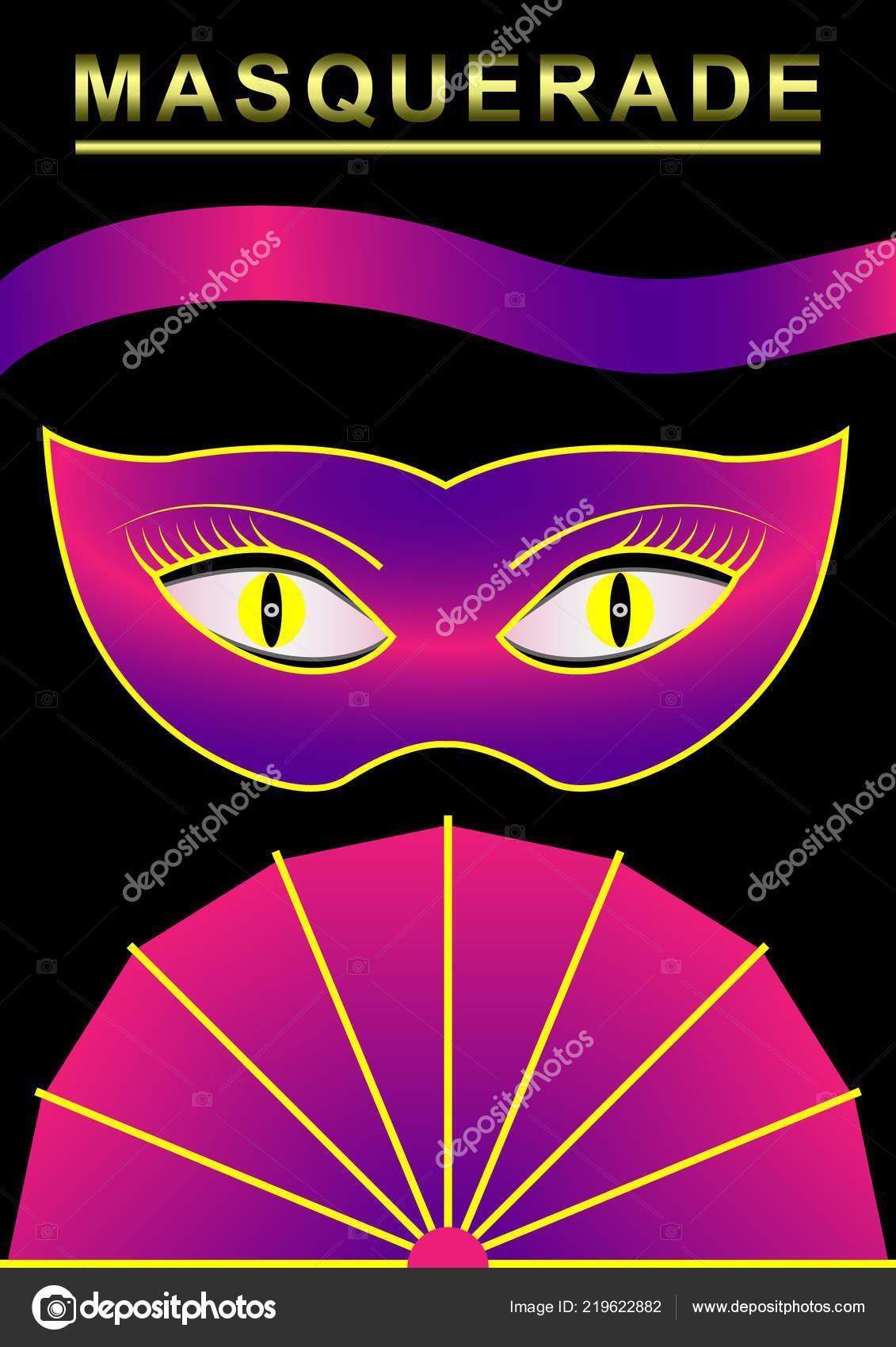 b60ac1797 Masky karneval, maškarní, ventilátor, pásu karet, plakát. Vektorové  ilustrace — Vektor od ...