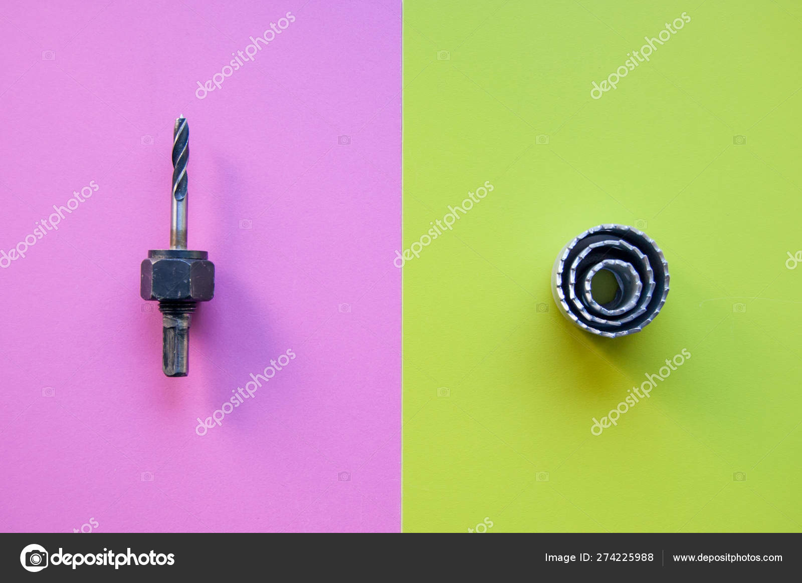 drill bit and crown on pink and lime color background