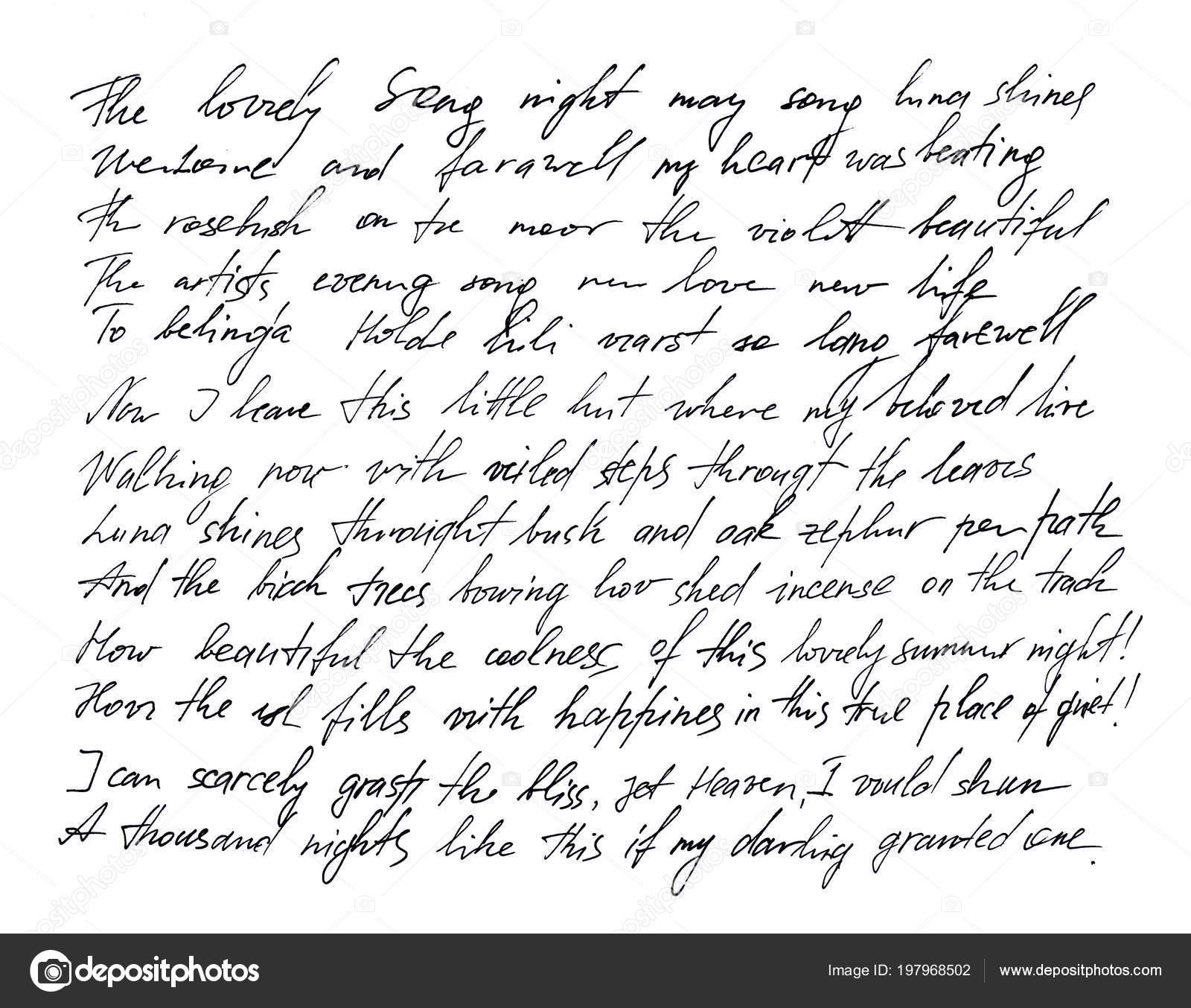 Lettre Manuscrite Écriture Manuscrite Calligraphie