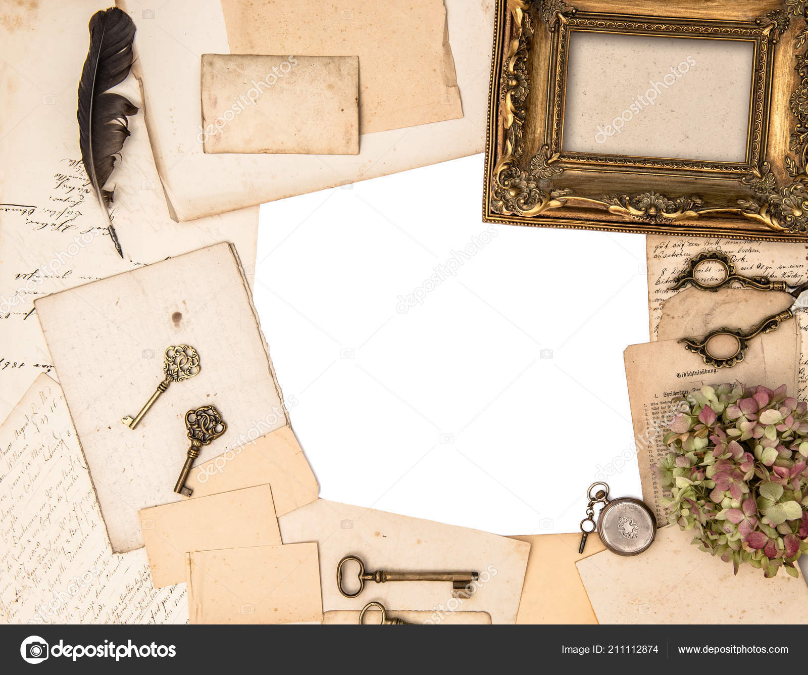 Antique Golden Picture Frame And Vintage Office Accessories. Flat Lay U2014  Photo By LiliGraphie