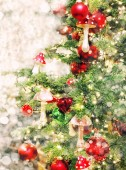 Christmas tree decoration ornaments lights. Vintage style toned picture