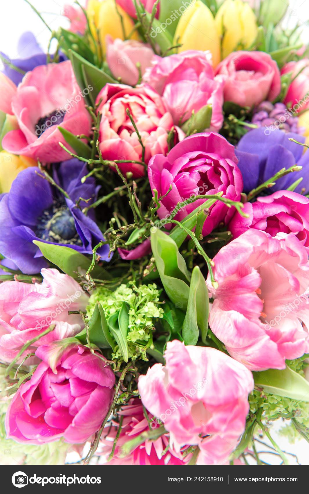Spring Flowers Tulip Ranunculus Anemone Beautiful Bouquet Stock Photo C Liligraphie 242158910