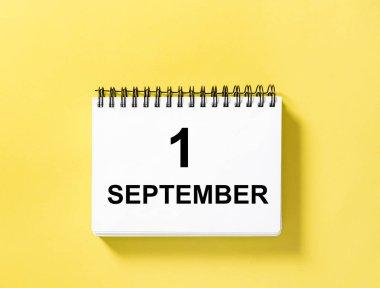 Calendar book date yellow background 1 September