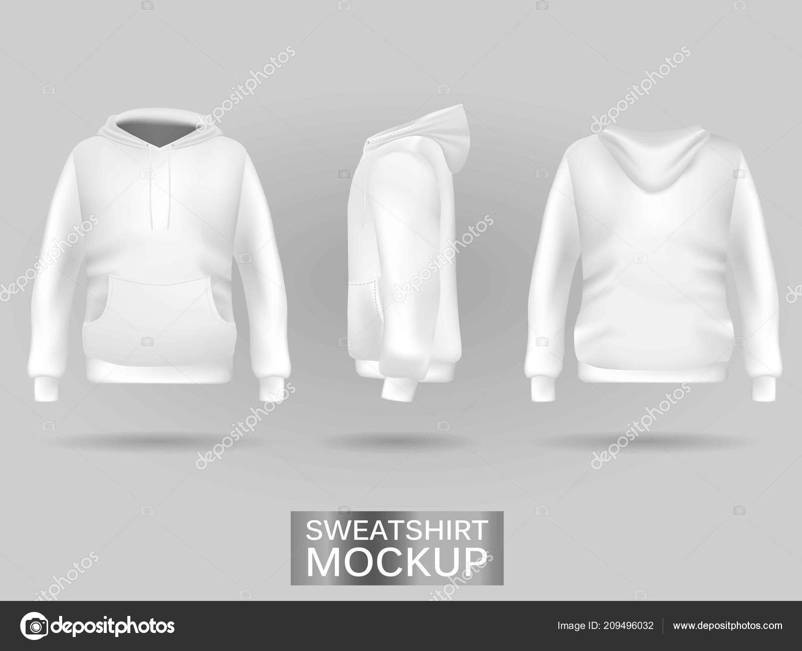 White Sweatshirt Hoodie Without Zip Template In Three Dimensions Stockvektor
