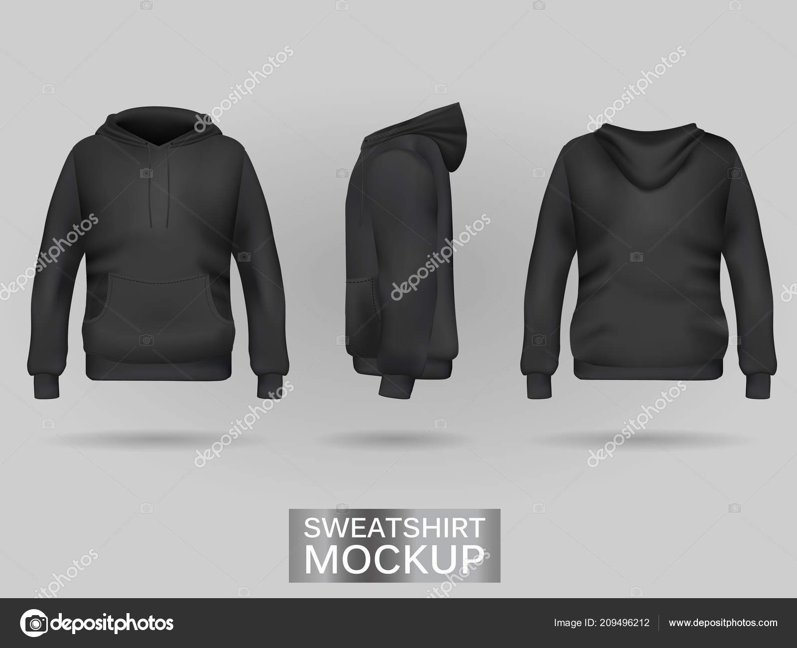 best website 7164c 0abe1 Felpa nera con cappuccio senza modello zip in tre dimensioni ...