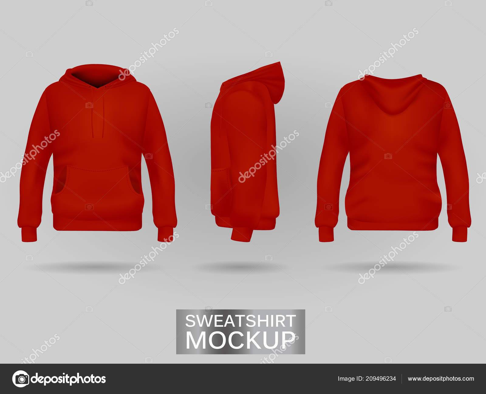 nuovo concetto 916a9 8c5a9 Felpa con cappuccio felpa rossa senza modello zip in tre ...