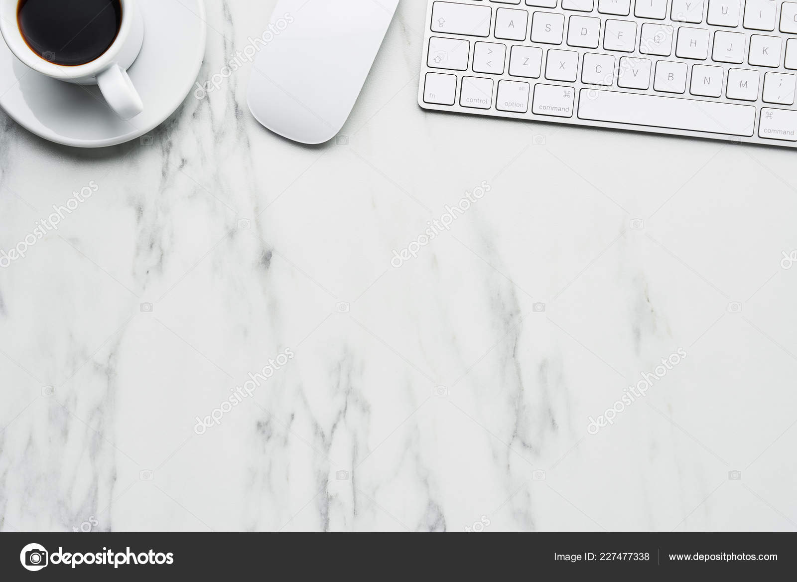 Business Composition White Computer Keyboard Mouse Coffee Cup White Marble Stock Photo C Xmarshallfilms 227477338