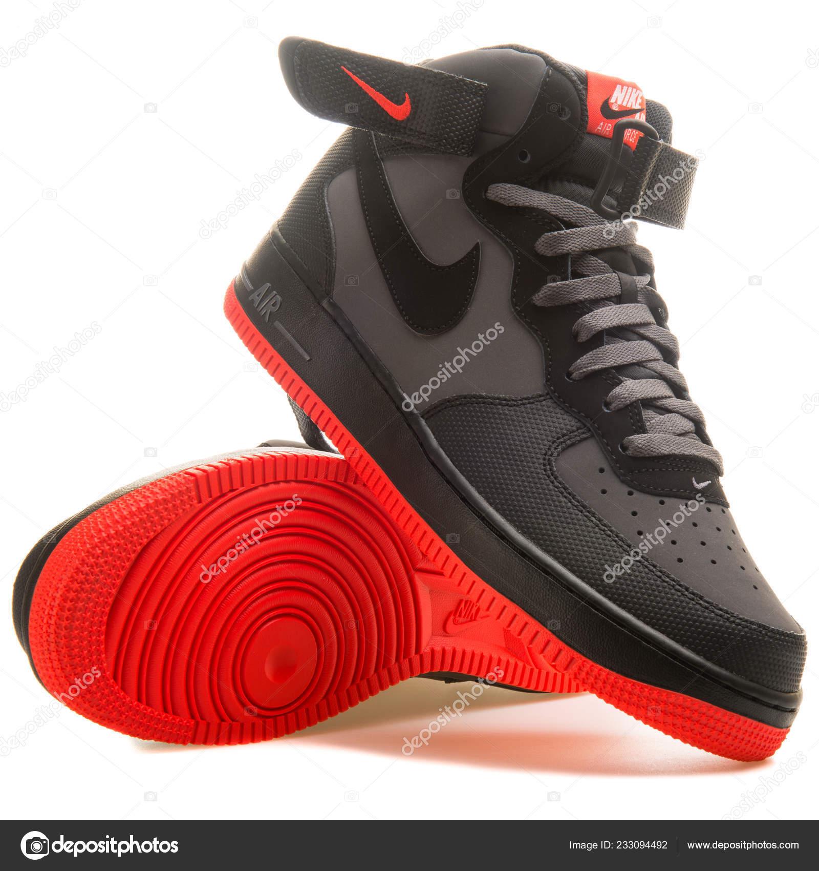 Vienna Austria June 2017 Nike Air Force Mid Black Red Stock