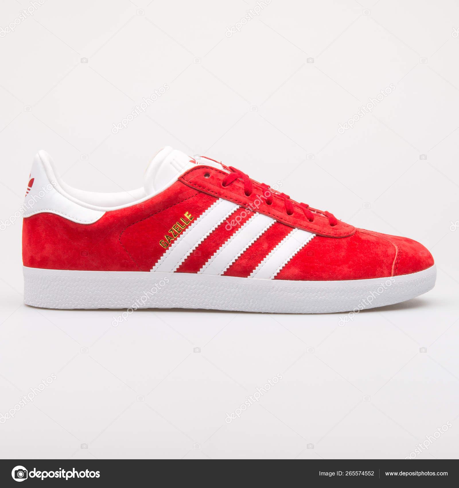 spotykać się buty do separacji Nowy Jork Adidas Gazelle red and white sneaker – Stock Editorial Photo ...