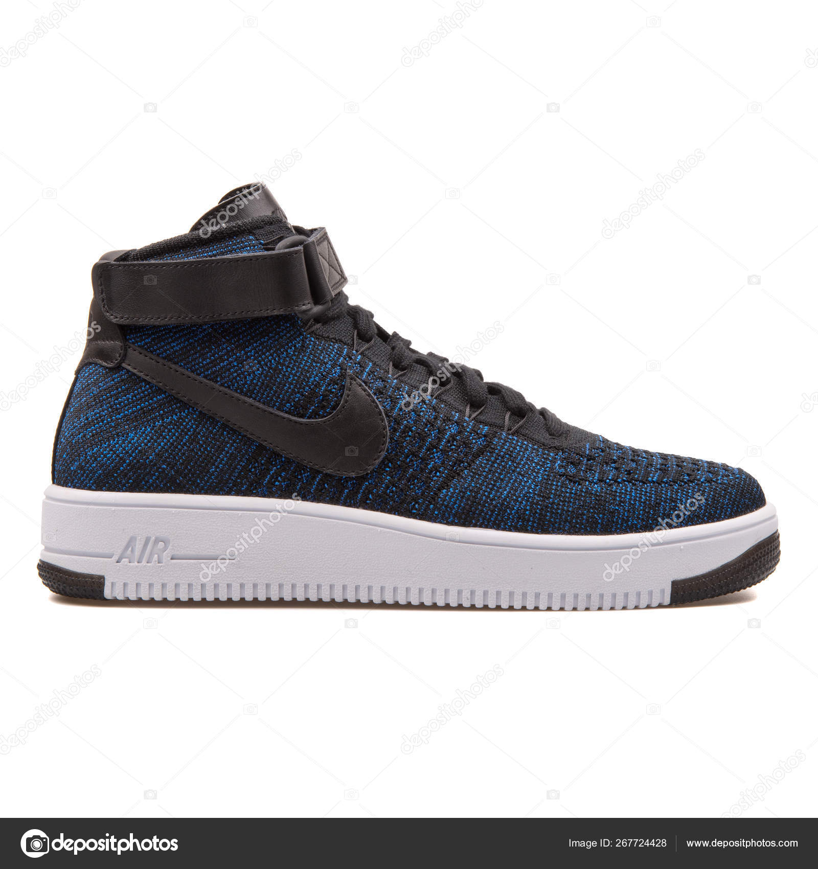 Nike Air Force 1 Ultra Flyknit Mid Black And Blue Sneaker Stock