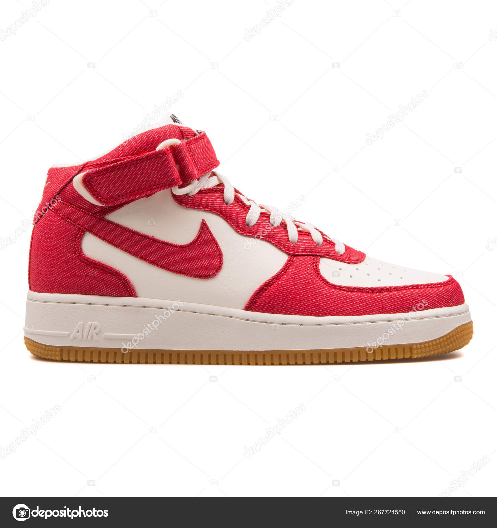 8023cf27 Nike Air Force 1 Mid 07 red and off white sneaker – Stock Editorial ...