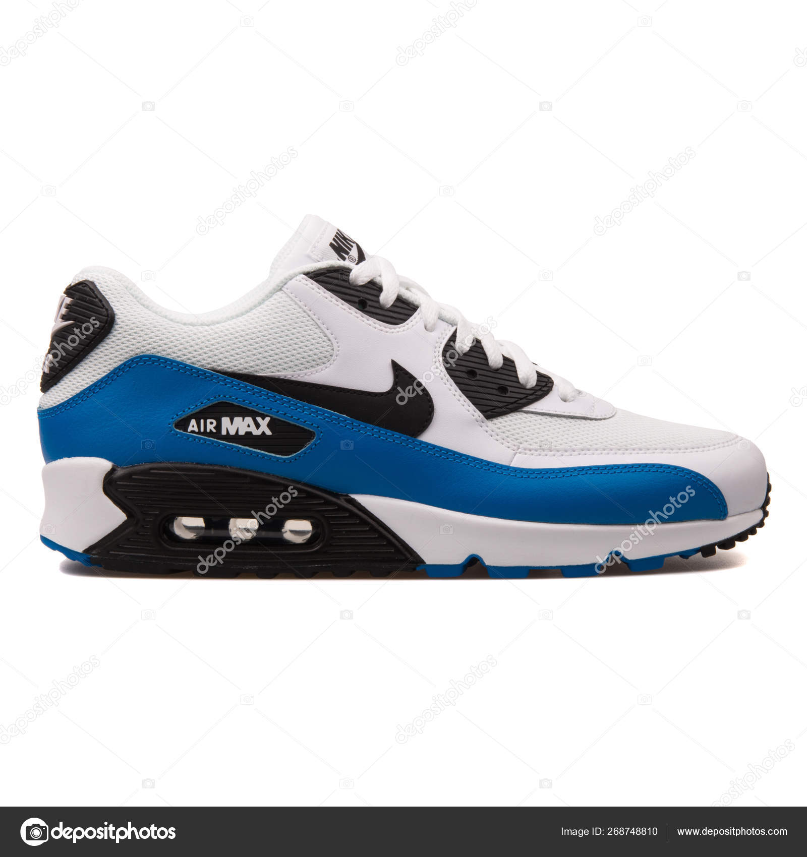 Nike Air Max 90 Essential White Blue And Black Sneaker Stock
