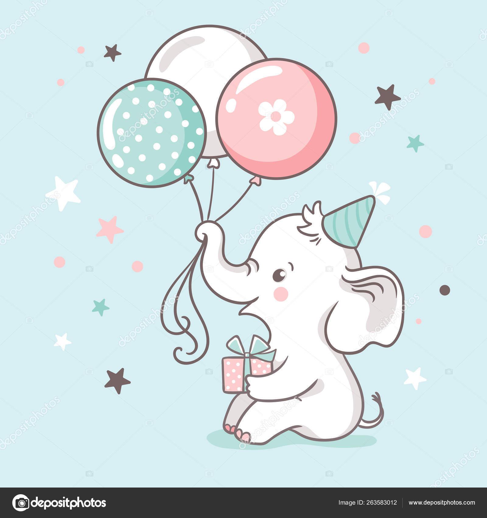 Tarjeta Invitación Baby Shower Lindo Elefante Bebé Blanco