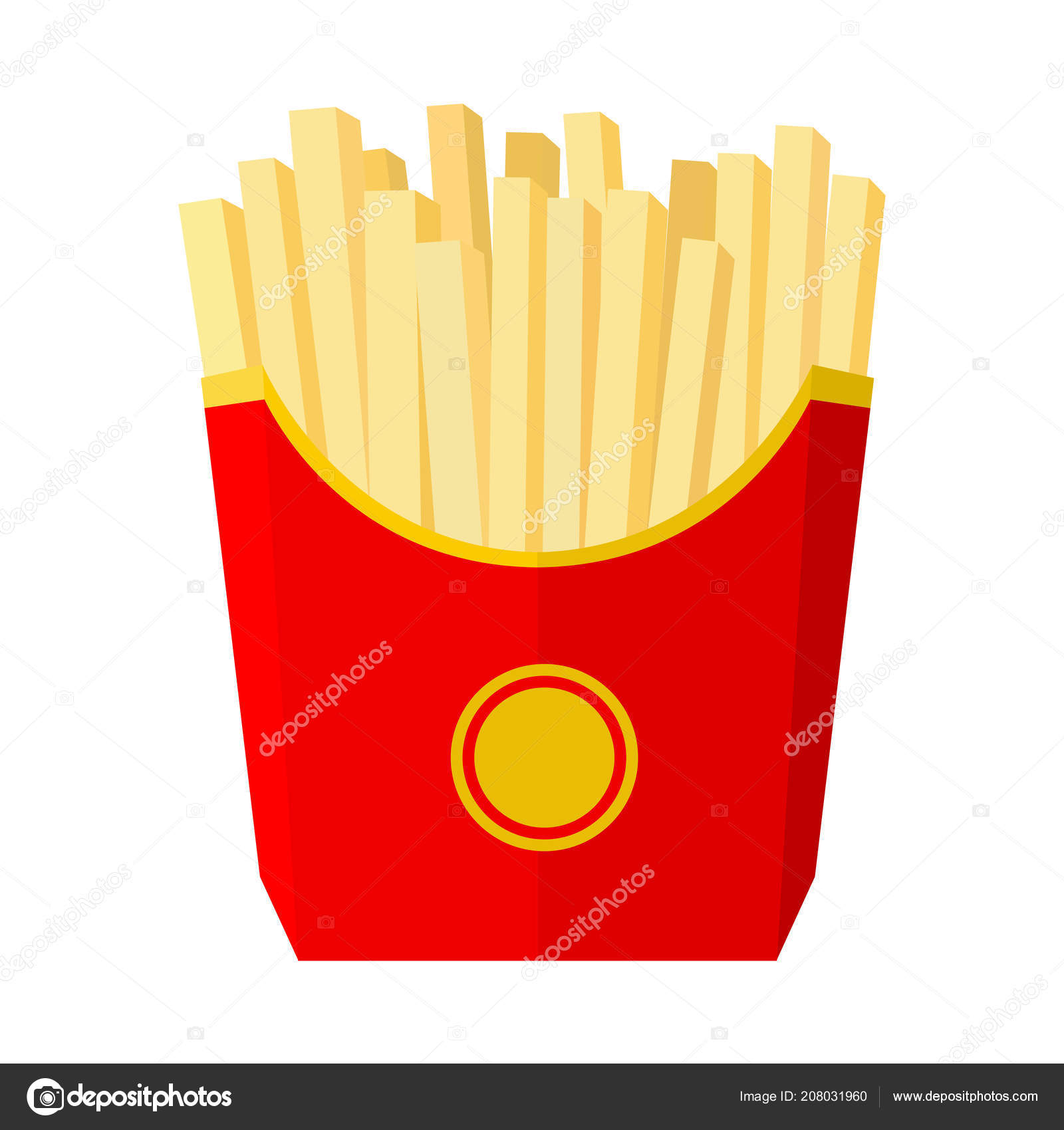 French Fries Red Bucket Fast Snack Isolated White Background Vector Stock Vector C Daysupa 208031960