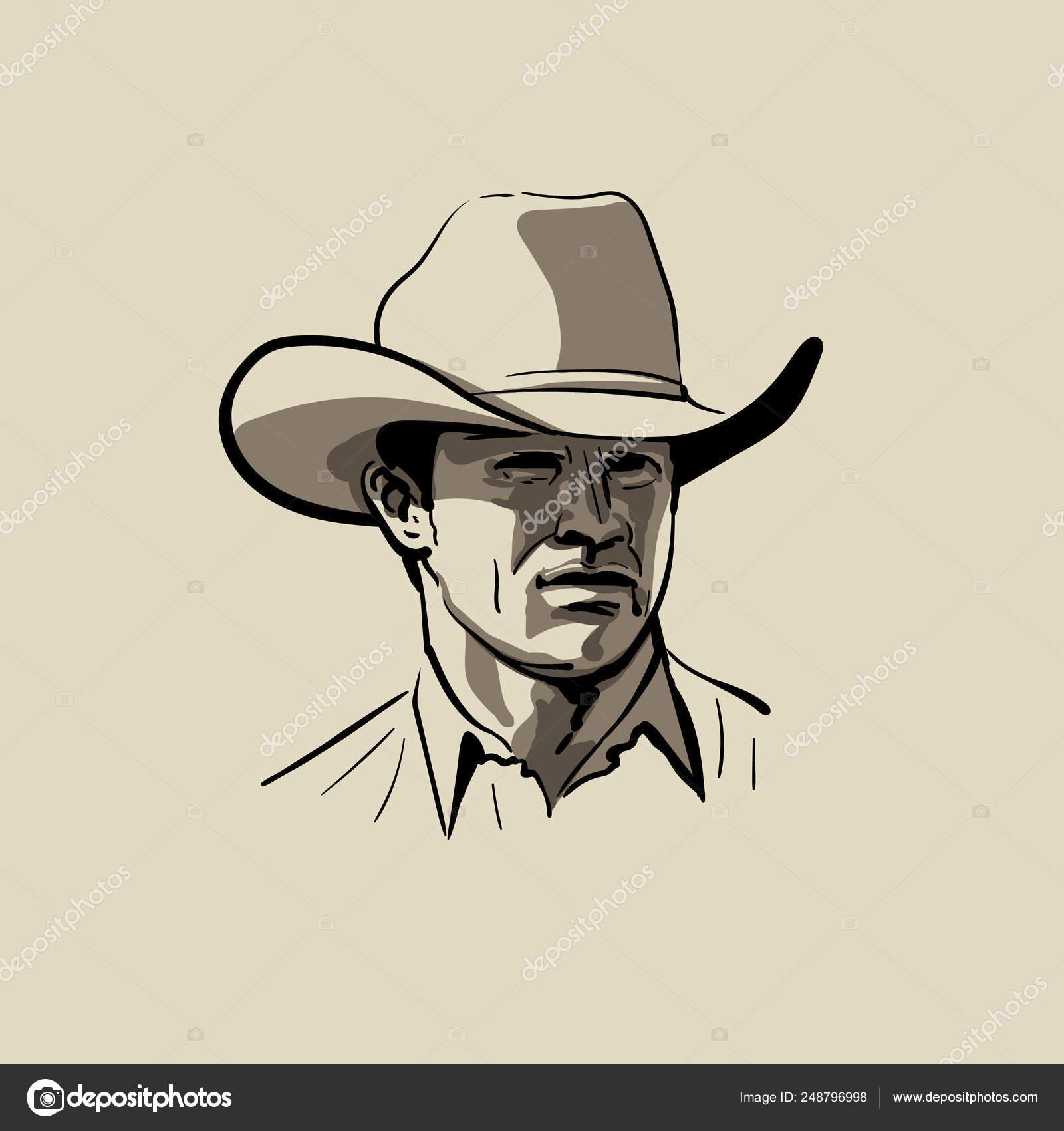 3e21f2f0a Man with cowboy hat. Western. Portrait. Digital Sketch Hand Drawing ...