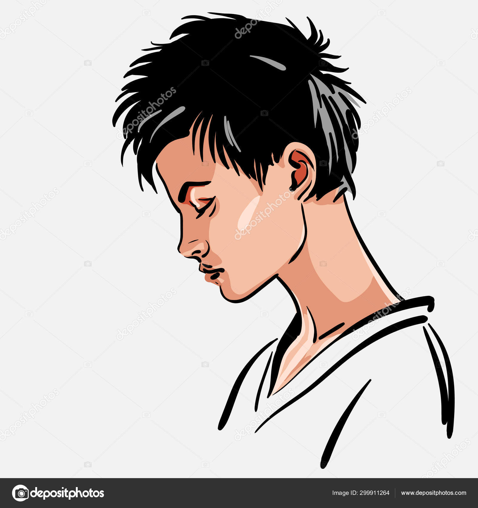 Woman Portrait Girl With Short Hair Looking Down Stock Vector