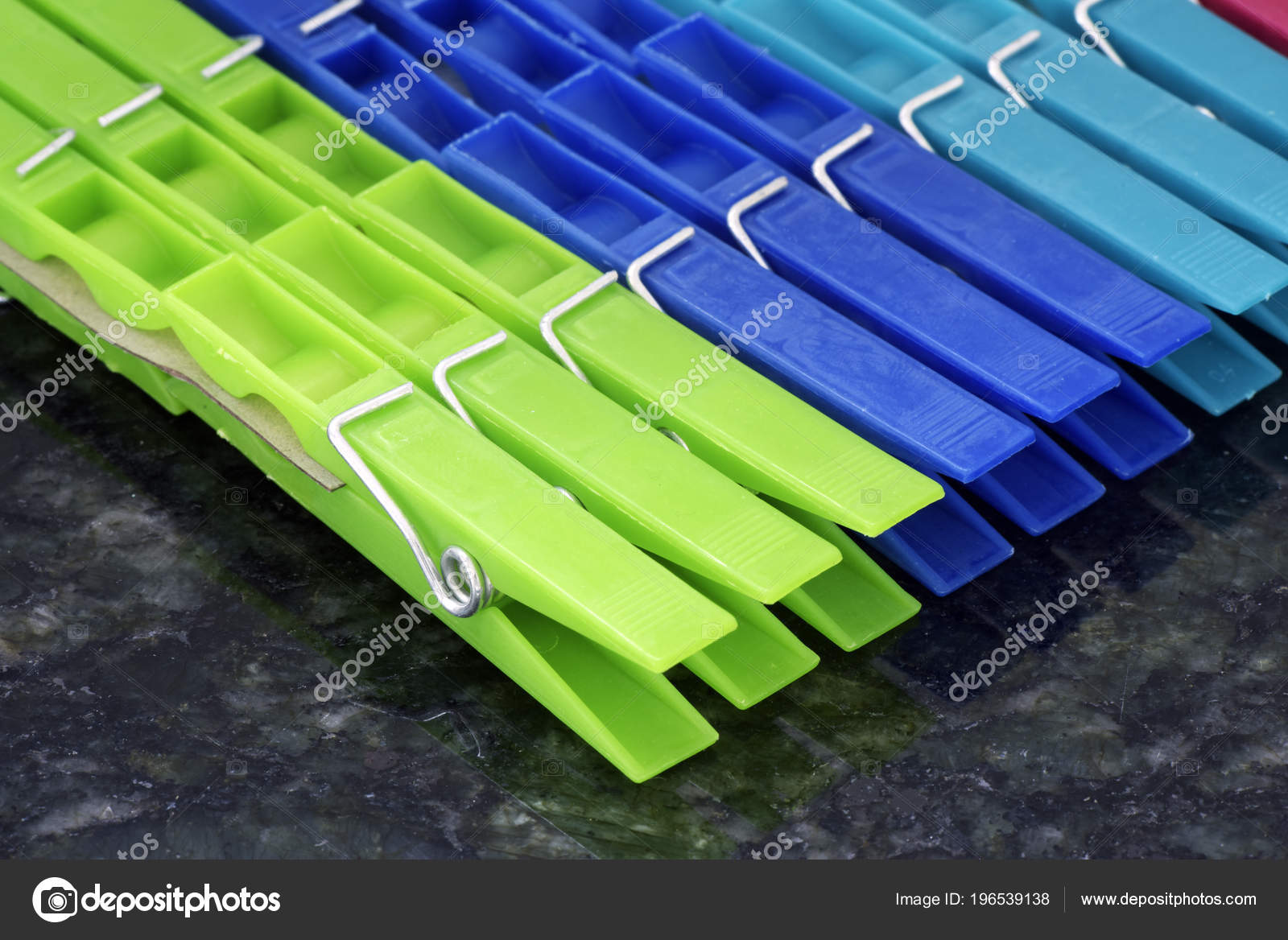 Set Colorful Clothes Pegs Aligned Geometric Composition