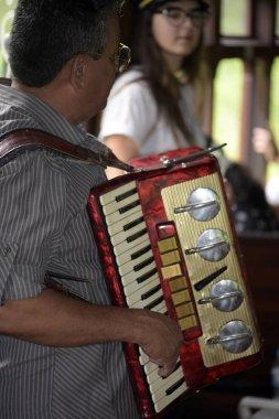 Guararema, SP, Brazil - November 4, 2017 - Closeup of folk musician playing accordion