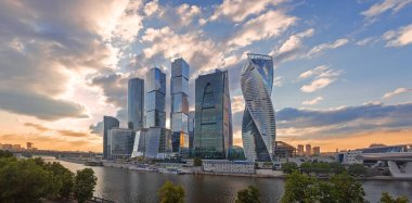 sunset panorama of Moscow skyscrapers, Russia