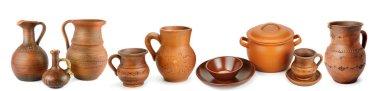 Set of old ceramic pot - kitchen retro equipment of cooking isol