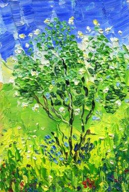 """Картина, постер, плакат, фотообои """"Буш белые садовые розы на фоне неба и травы. Живопись маслом на холсте. Техника вязания палитра."""", артикул 211059460"""