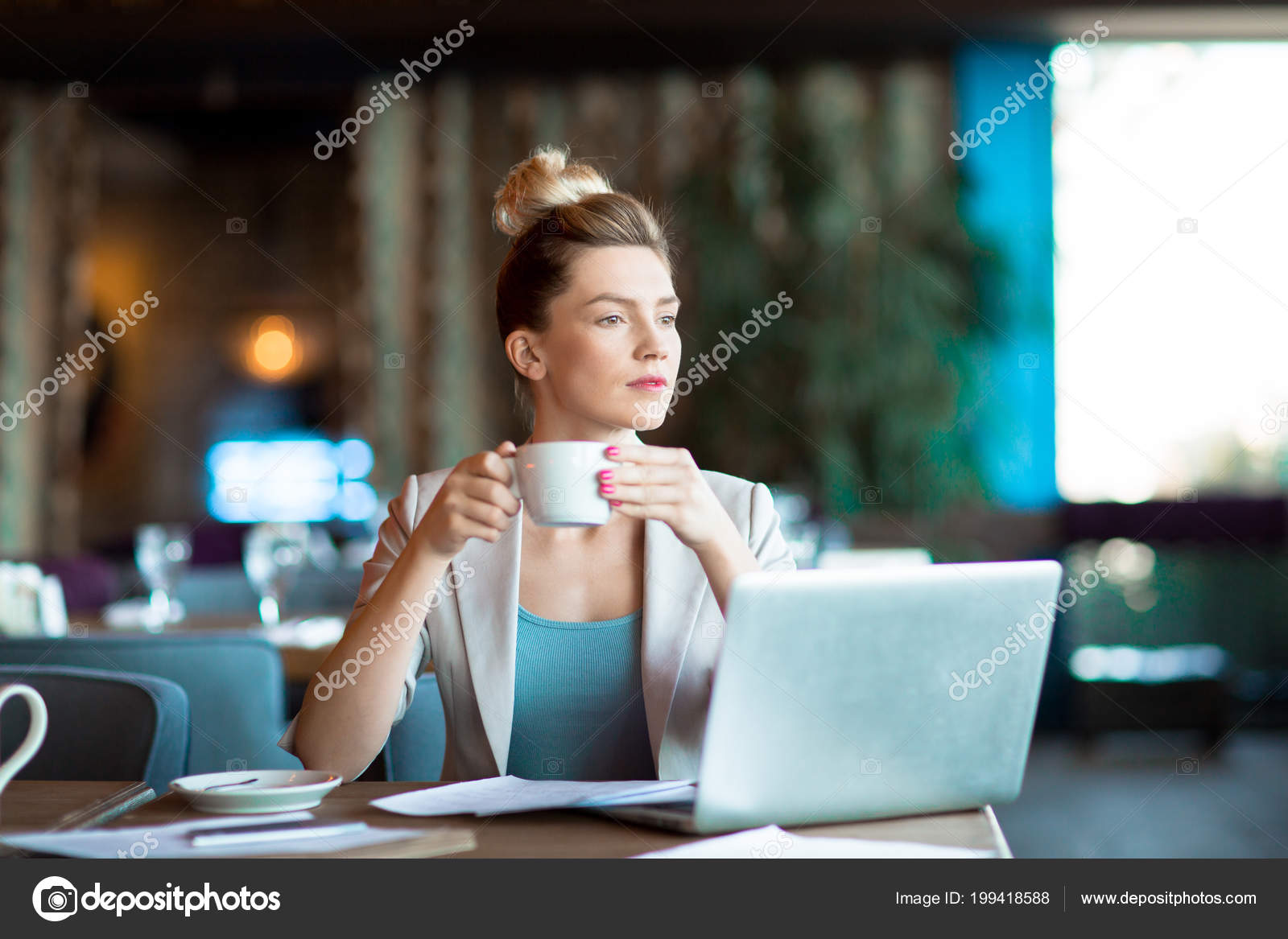 Young Pensive Businesswoman Cup Tea Coffee Thinking Working Ideas Front Stock Photo C Pressmaster 199418588