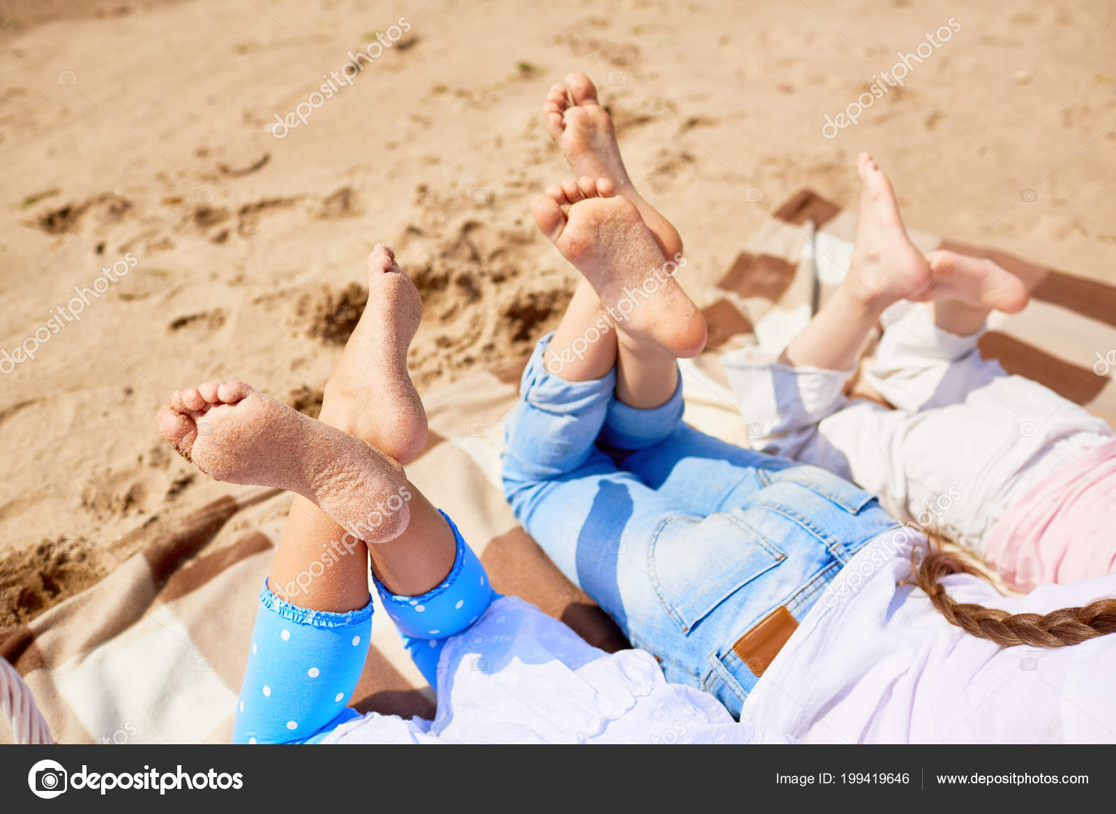Soles Bare Feet Girls Lying Sandy Beach Hot Summer Day Stock Photo