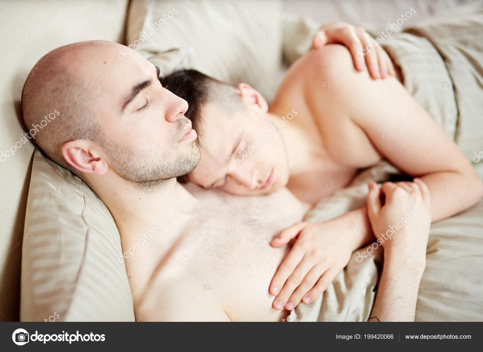 Peaceful Gay Men Closed Eyes Lying Bed Blanket Sleeping — Stock Photo