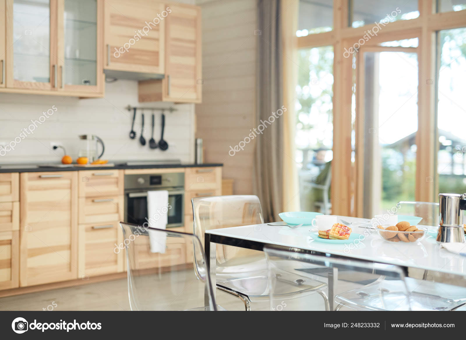 Empty Domestic Kitchen Modern Table Setting Breakfast Transparent Chairs Wooden Stock Photo C Pressmaster 248233332