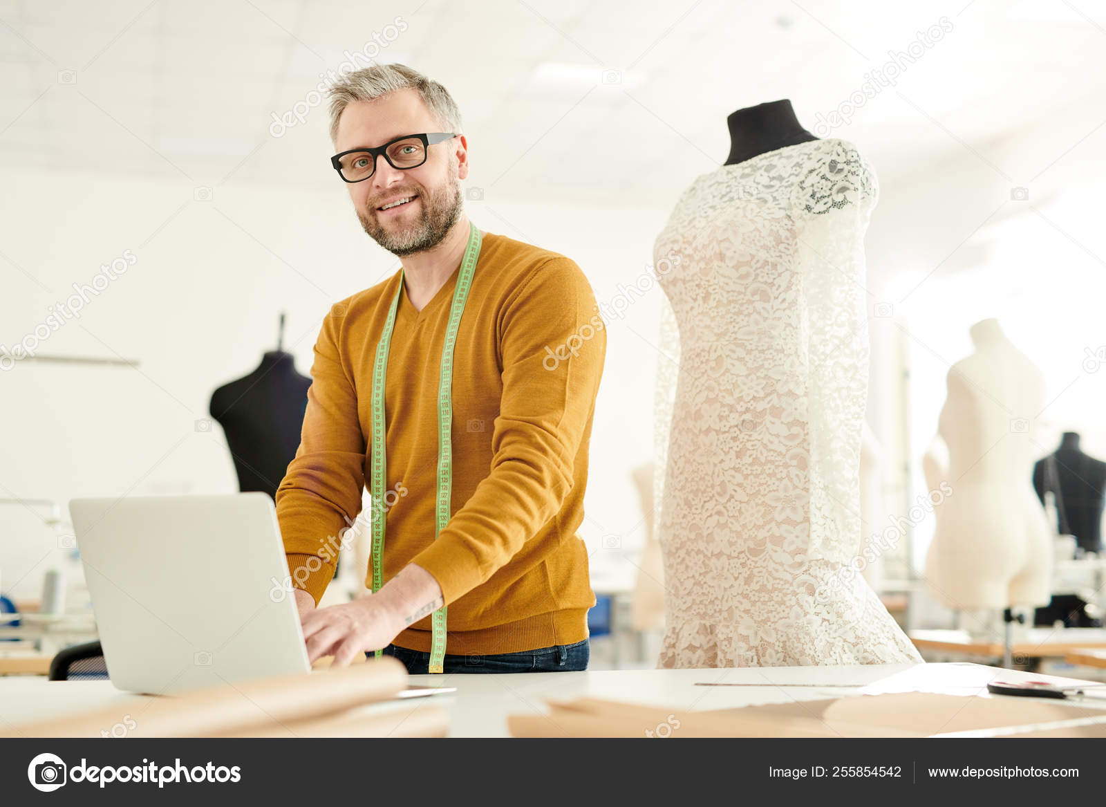 Mature Successful Tailor Casualwear Standing Desk Searching New Creative Ideas Stock Photo C Pressmaster 255854542