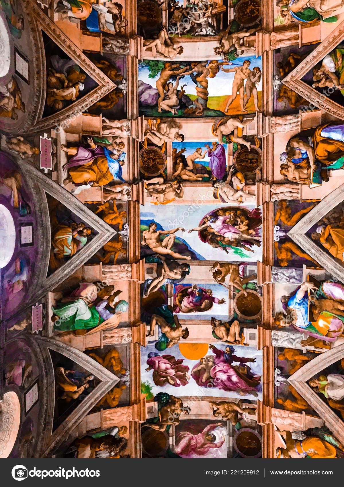 Italie Vatican Chapelle Sixtine Novembre 2017 Plafond Chapelle