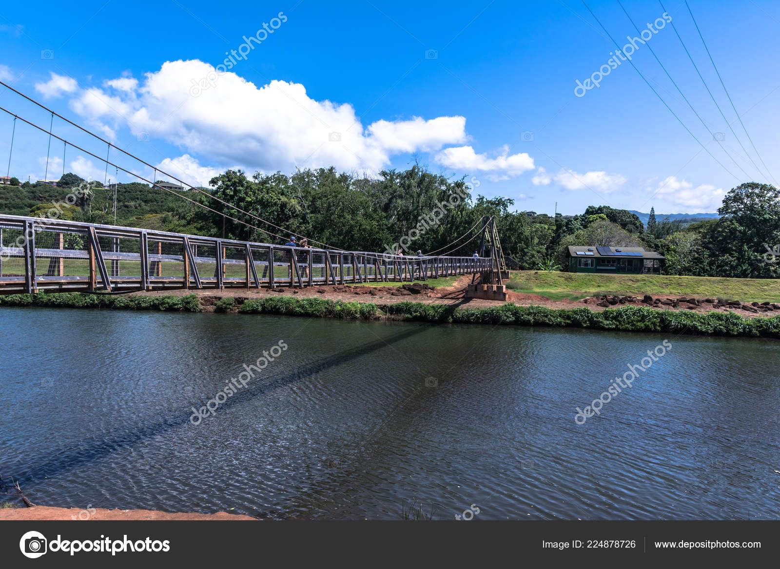Hanapepe Swinging Bridge Kauai Hawaii Stock Photo
