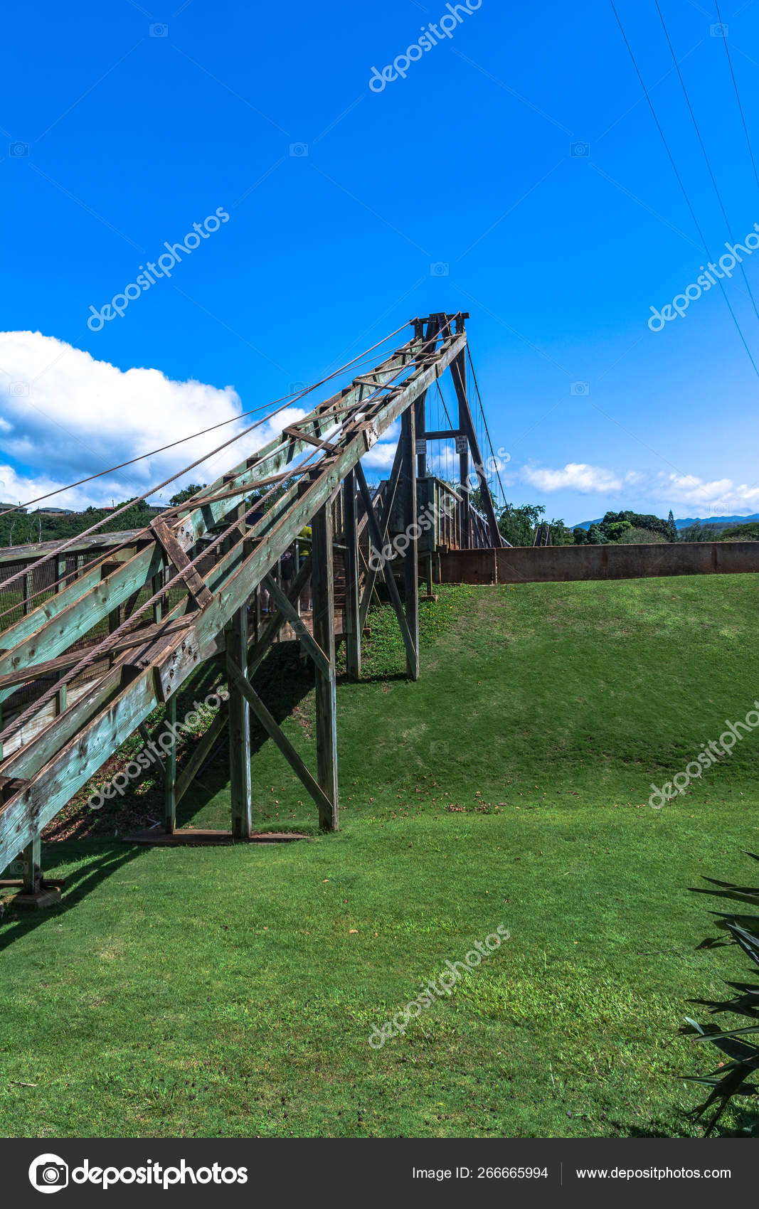 Hanapepe Swinging Bridge Kauai Hawaii Stock Editorial