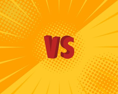 Versus VS letters fight backgrounds in flat comics style design. Vector illustration