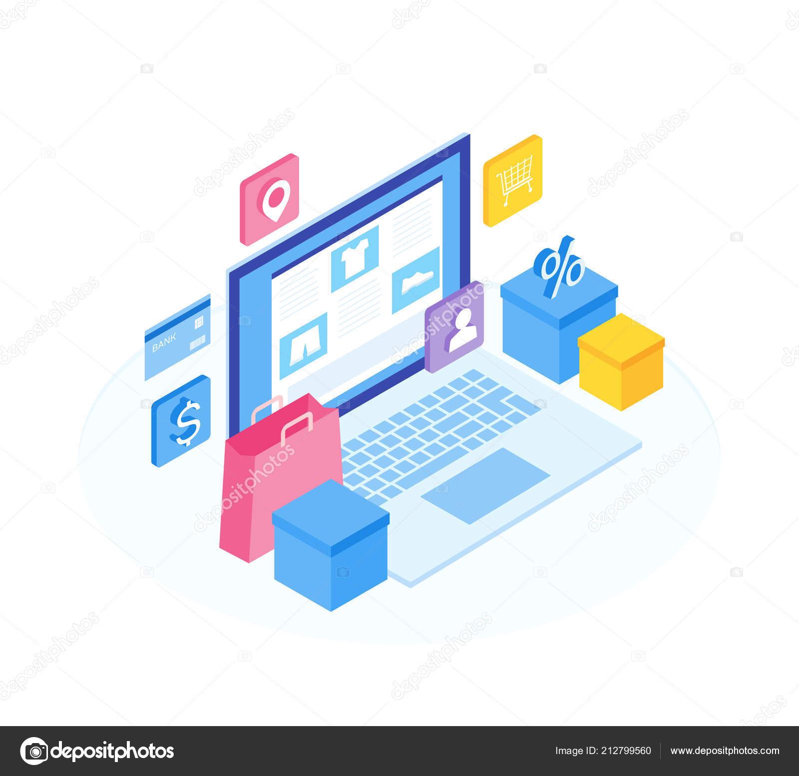Konzept der Online-Shop. Richten Sie den Funktionen Online-Shop ein ...