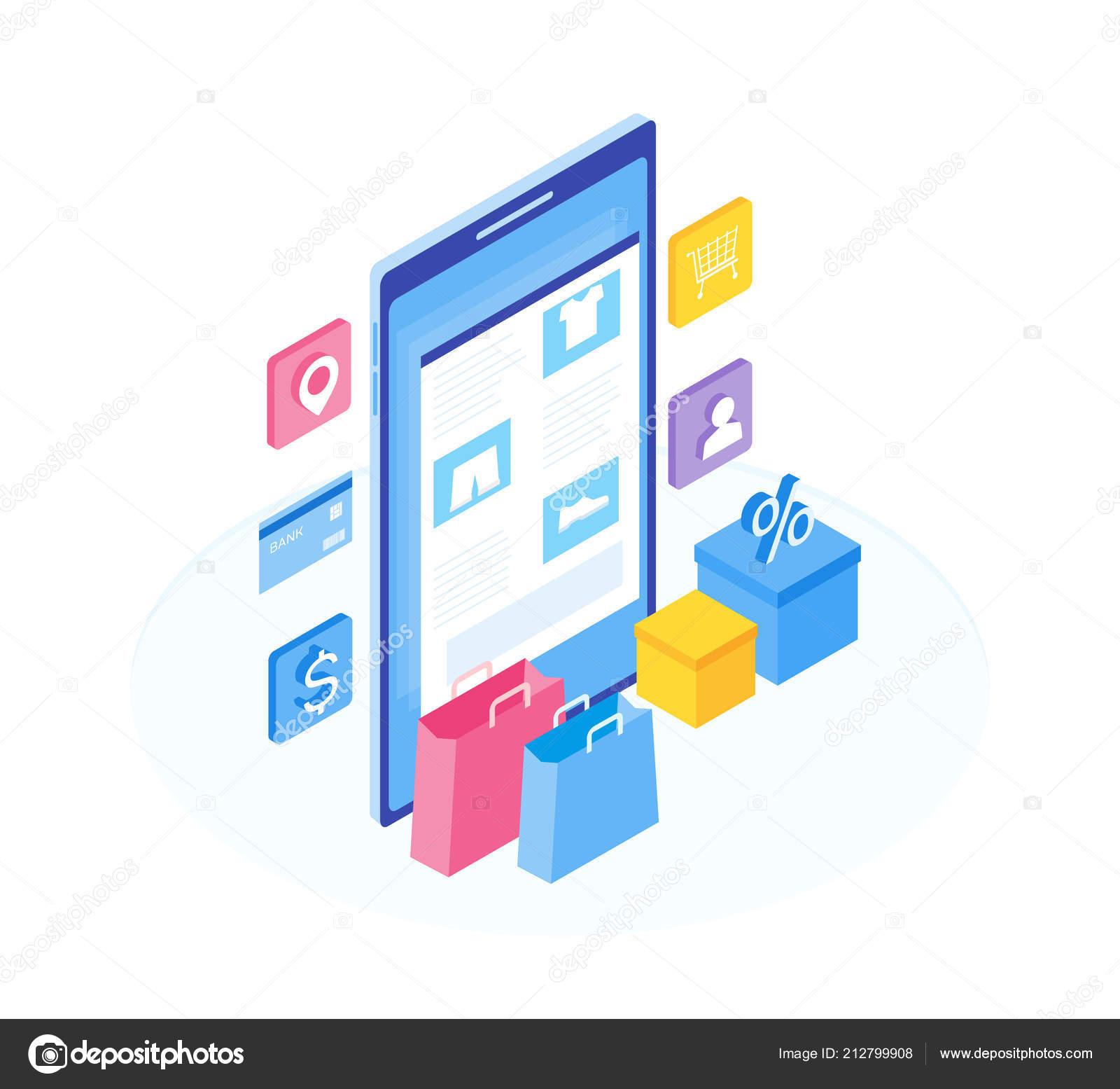 13df302e0d78 Το πρόγραμμα εγκατάστασης λειτουργίες online κατάστημα. Ισομετρική εικόνα  του smartphone
