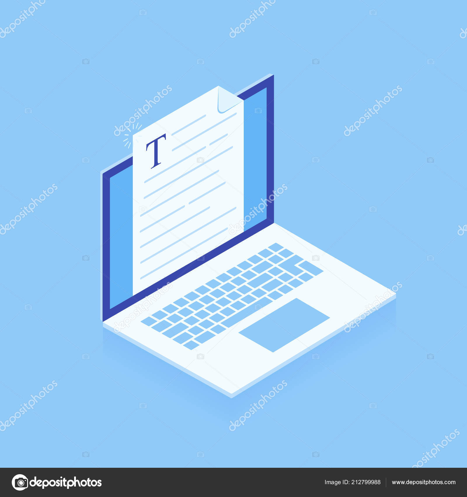 Laptop With Writing Letter Or Journal Isolated On Blue Background