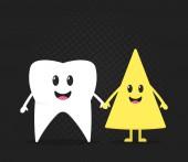 Fényképek Egészséges fogak kitűzőt, fog a gazdaság, sajt, a legjobb barátok, a örömteli arcok, a gyermekek kezet vigyázni a foga. retro fekete háttér. Lapos kivitel. Vektoros illusztráció