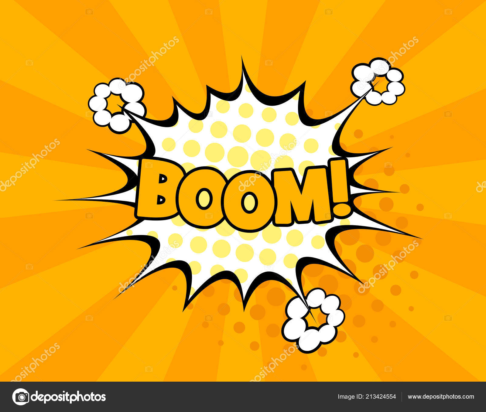 Boom comic text speech bubble vector isolated template  Sound effect