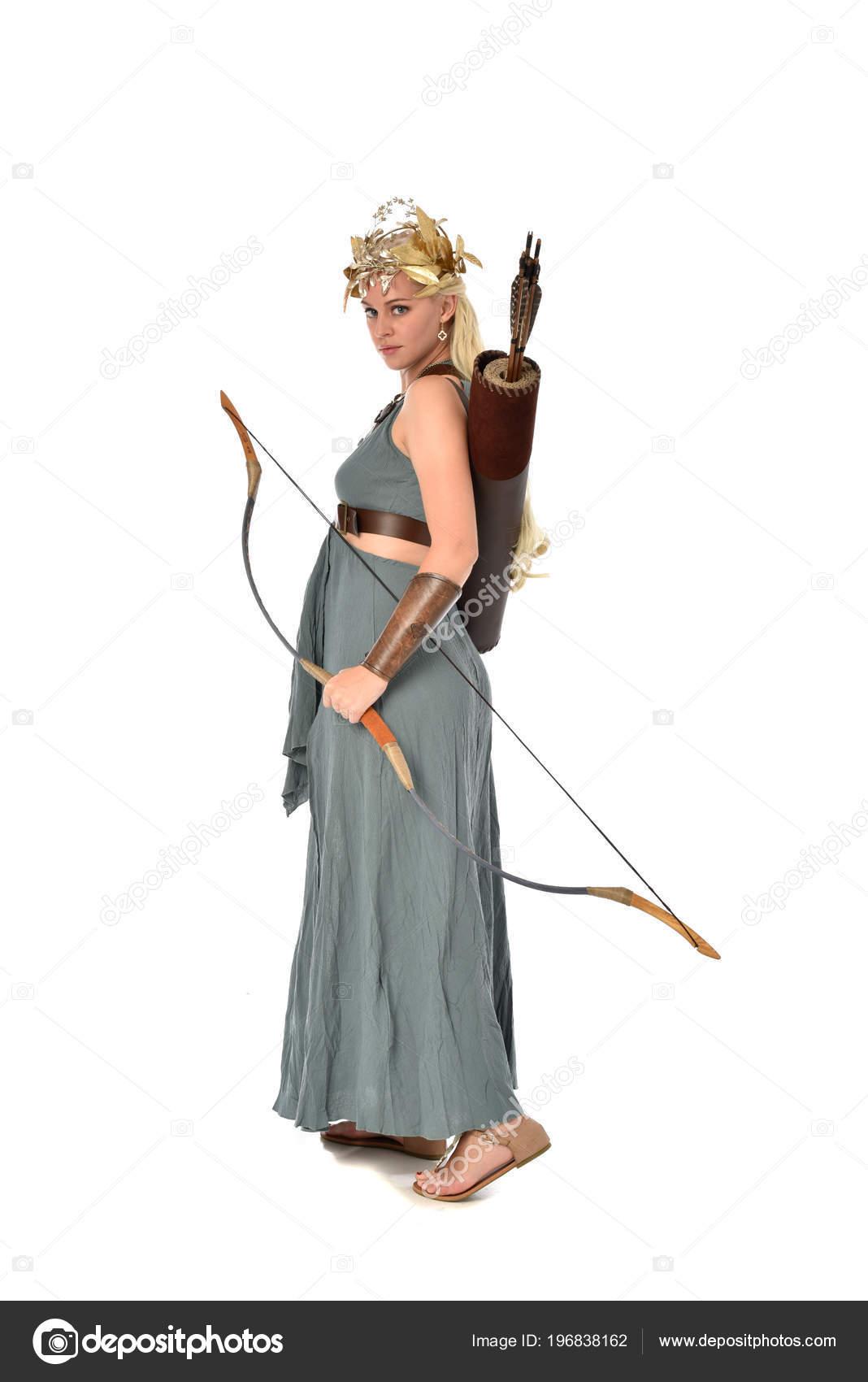 Full Length Portrait Pretty Blonde Lady Wearing Fantasy Toga Gown ...
