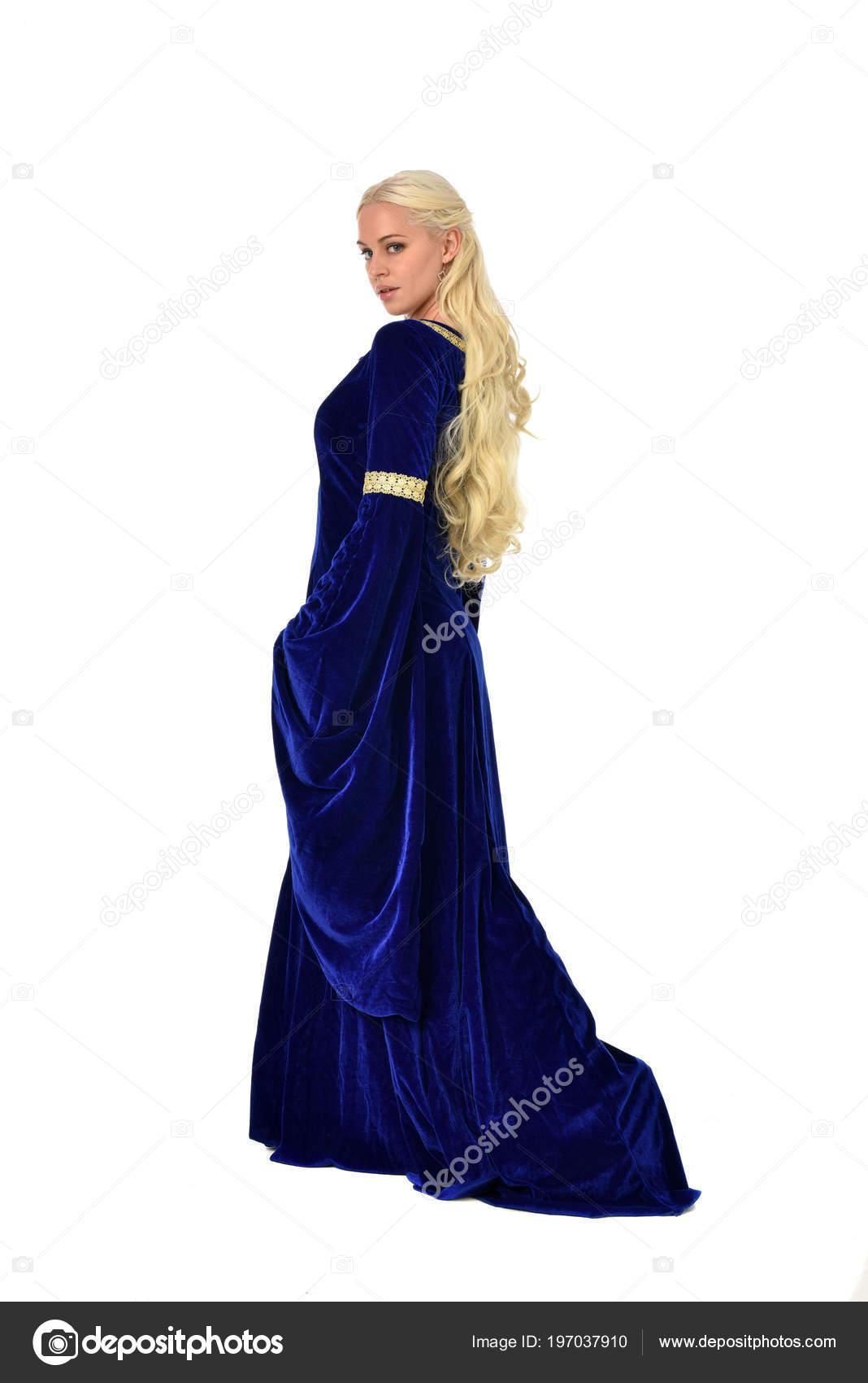 Full Length Portrait Pretty Blonde Lady Wearing Blue Fantasy ...