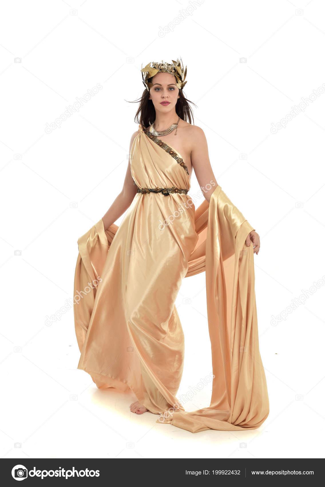 Full Length Portrait Brunette Woman Wearing Gold Grecian Gown ...