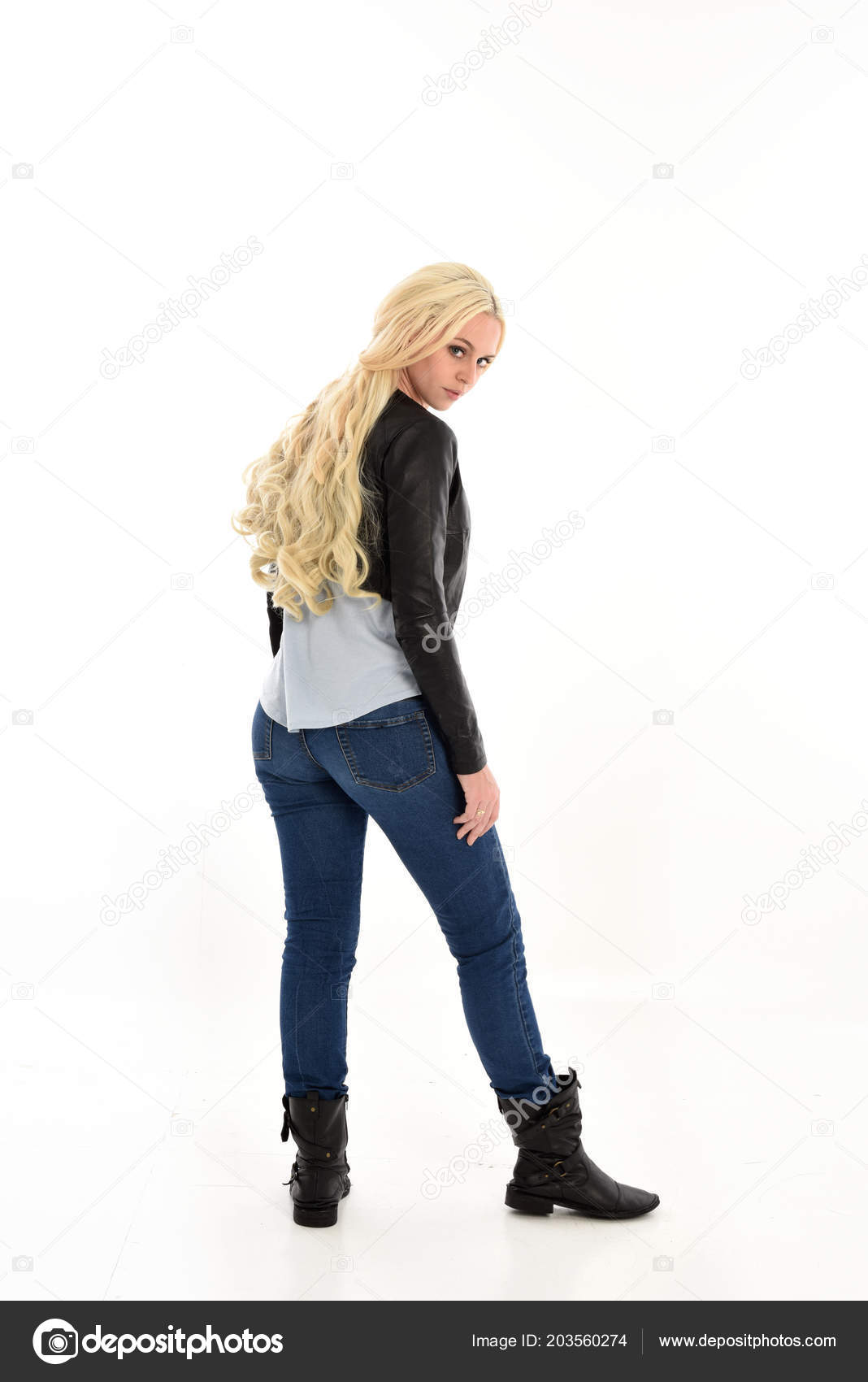 Jeans Chaqueta Longitud Sencillos Muchacha Completa Con Retrato xfqUHH
